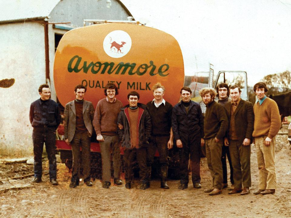 Avonmore milk truck and staff in 1973